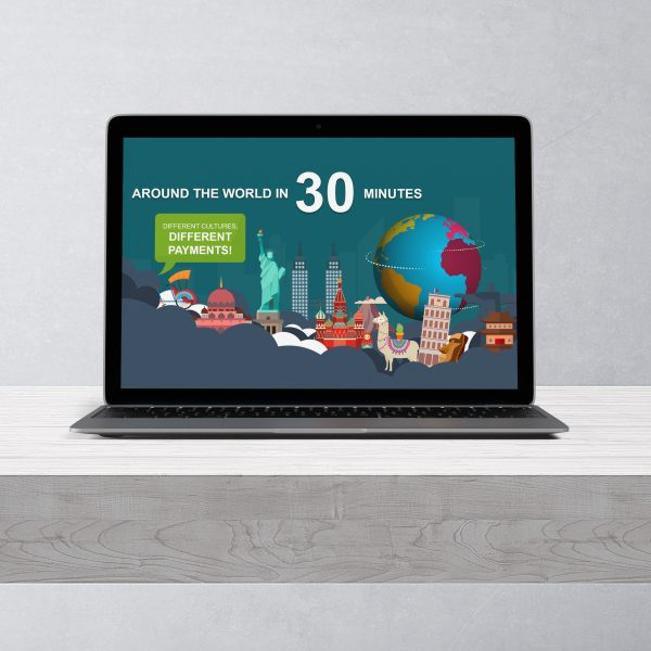 Laptop mit Titelfoie:Around the world in 30 minutes